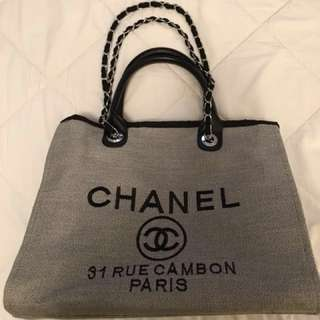 Chanel 31 Rue Cambon Paris Canvas Tote Chain Bag
