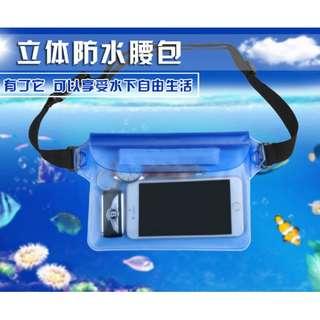 漂流 游泳 三層 PVC防水腰包 三道密封 戶外  手機防水 腰包 魔鬼氈 透明防水  觸屏 拍照