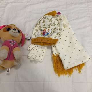 Princess printed scarf with beanie cap & gloves