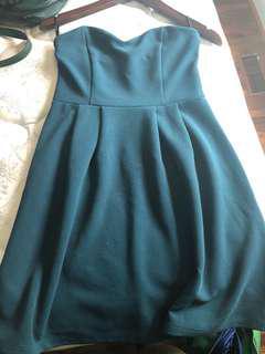 Strapless blue green dress