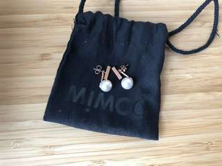 Mimco Pearl Rose Gold Drop Earring