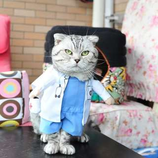 Pet Doctor Costume Dog Jeans Clothes Cat Funny Apperal