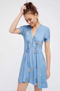 🚚 二手近新❤️歐美極美藍色抽繩薄洋裝S號