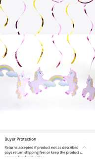 Special mark down! Only $11 for 6 pretty unicorns ceiling swirls