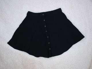 Black Button Down Asymmetric Skirt