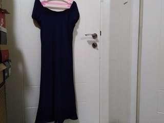 Navy Blue Sheer Long Dress