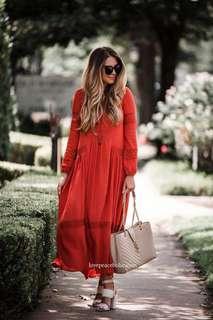 Rust colour maxi dress with embroidery boho bohemian style