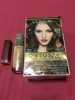 Loreal Foundation, Loreal Hair color And Maybelline Lipstick