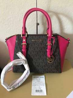 Michael Kors Brown/Ultra Pink Satchel