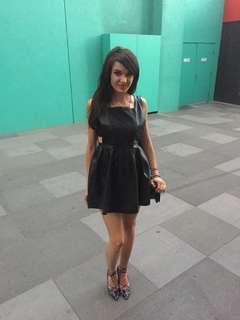 Leather/jeans mini dress