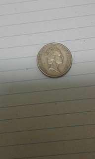 Duit syiling lama Australia 2dollar,1988, Queen Elizabeth ll