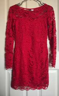 H&M RED LONG SLEEVE DRESS