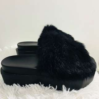 Fur Platform Sandals