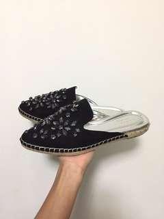 [Authentic] Carvela Kurt Geiger Embellished Flat Mules Loafer Suede