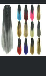 *Best selling!😍 Preorder Ombre dip dye ponytail claws hair extension *waiting time 14 days after payment is made*pm to order