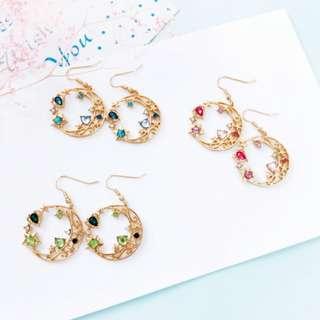 【現貨】花圈水鑽月亮星星造型耳鉤耳夾式耳環