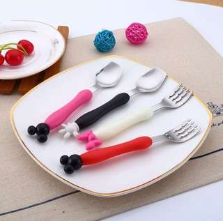 Mickey mouse minnie mouse toddler training spoon and fork utensil set