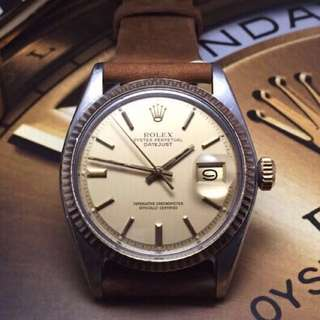 SOLD-      36mm Rolex Men's Datejust In Gloss Desert Sand