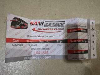 Tiket ticket balik raya KUANTAN - TBS/KAJANG