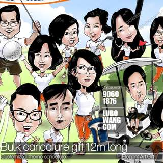 Group #caricature with #golf price varies based on faces, size and complexity