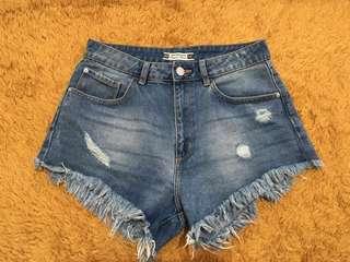 Summer high waist shorts denim short blue ripped