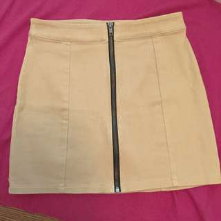 Khaki zip mini skirt