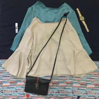 Peplum sleeves top