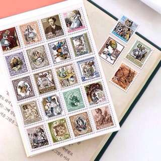 Korean Vintage Stamp Stickers 1•Paris 2•Alice