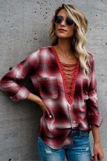 Plaid lace up plunge neck top