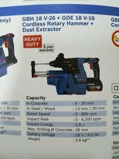 Bosch GBH18V-26 + GDE18V-16 Cordless Rotary Hammer + Dust Extractor