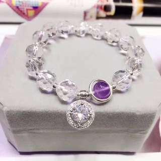 天然切面白水晶+紫水晶手鏈 配925銀施華洛世奇閃鑽吊墜