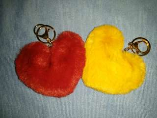 Heart shape and furball with tassel