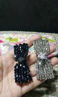 Ribbon Clip with swarovski from London (2pcs)