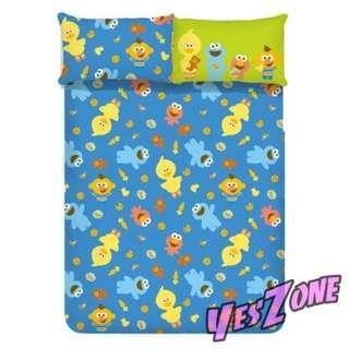 Yes Zone 卡通精品 芝麻街 艾蒙 餅乾怪獸 正版 雙人三件套床笠蓓莎全綿被套四件套床單