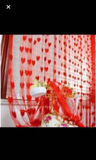 Tassel heart curtain