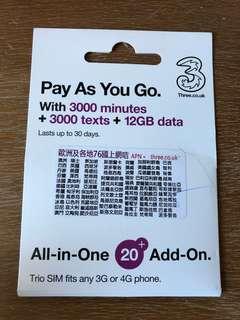 英國上網電話卡 3UK 12GB Data + 3000 mins + 3000 texts