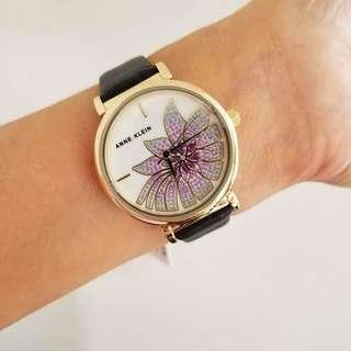 Anne Klein Women's Gold Tone Black Bracelet Leather Watch, 38 mm. P4,500 free shipping.