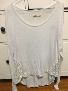 Lace Side-Slit Long Sleeve (Hollister - small)
