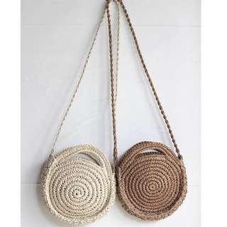 STRAW BEACH BAG (BROWN) SUMMER