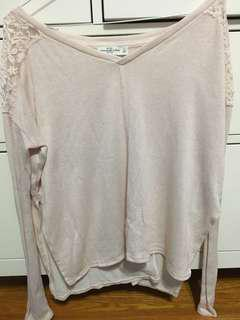 Side Slit Long Sleeve with Lace Shoulders (Abercrombie - small)