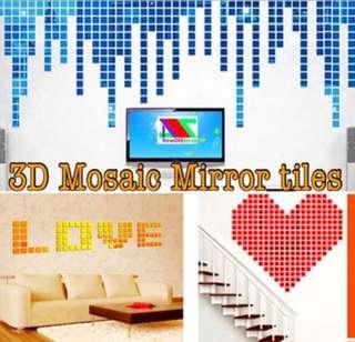 Mirror mosaic tiles sticker