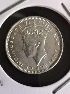 C2 1939英属马来亚乔治六世10分银币18mm