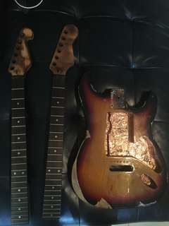 relic style strat with 2 burned necks