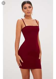 Pretty little thing burgundy petite dress
