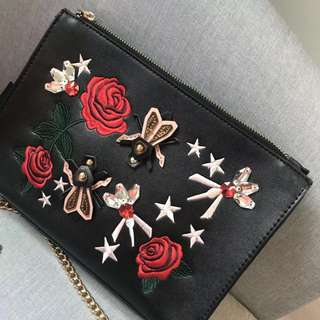 Ready stock: Original Zara embrodeiry sling bag