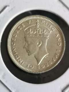 C3 1941英属马来亚乔治六世10分银币18mm