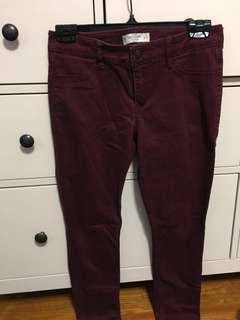 Burgundy Mid-Rise Skinny Jeans (Abercrombie - 4)