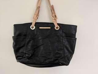 Large Black Handbag Bag Leather