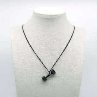 stainless steel dumbbell pendant necklace 不銹鋼啞鈴頸鏈