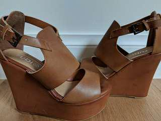 Brown Leather Wedges Shoes